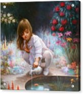 Pond And Girl Acrylic Print