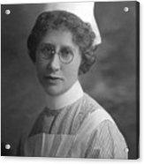 Portrait Headshot Nurse 1922 Black White 1920s Acrylic Print