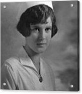 Portrait Headshot Nurse 1924 Black White 1920s Acrylic Print