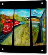 Red Train Passage Dreamy Mirage Acrylic Print