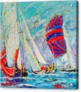 Sail Of Amsterdam II - Tree Sailboats  Acrylic Print