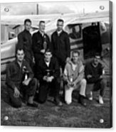 Skydiving Team Posing Airplane Circa 1960 Black Acrylic Print
