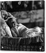 Smiling Baby In Bassinet 1910s Black White Boy Acrylic Print