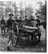 Soldiers Cannon 1898 Black White 1890s Archive Acrylic Print