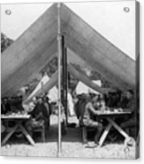 Soldiers Eating In Mess Tent 19061909 Black Acrylic Print