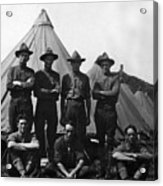 Soldiers Posing In Front Tents 19171918 Black Acrylic Print