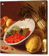 Still Life Of Raspberries Lemons And Asparagus  Acrylic Print
