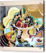 Still Life With Fish And Fresh  Fruits Acrylic Print by Therese AbouNader