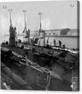 Submarines In Harbor Circa 1918 Black White Acrylic Print