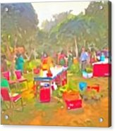 Tables And Chairs At An Exhibition Acrylic Print