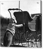 Toddler Pushing Baby Buggy 1926 Black White Boy Acrylic Print