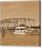 Vintage Swing Bridge In Sepia 2 Acrylic Print