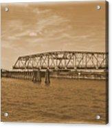 Vintage Swing Bridge In Sepia 4 Acrylic Print