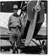W Soldier Standing Biplane July 1923 Black White Acrylic Print
