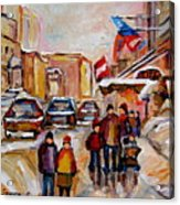 Winter Walk In Montreal Acrylic Print