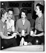 Woman Female Drinking Coffee Bowling Alley Circa Acrylic Print