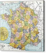 Map Of France, C1900 Acrylic Print