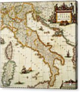 Map Of Italy, 1631 Acrylic Print