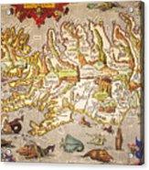Iceland: Map, 1595 Acrylic Print