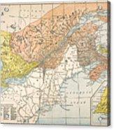 Map: Eastern Canada Acrylic Print