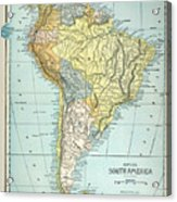 South America: Map, C1890 Acrylic Print