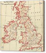 Map: British Isles, C1890 Acrylic Print