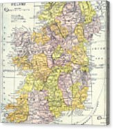 Map: Ireland, C1890 Acrylic Print