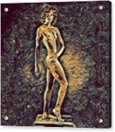 0957s-zac Fit Black Dancer Standing On Platform Acrylic Print