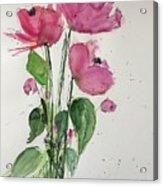 3 Pink Flowers Acrylic Print