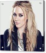 83110 Blonde Jacket Sitting Simple Background Hazel Eyes Hilary Duff Women Acrylic Print