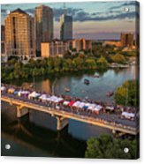 A Beautiful Sunset Falls On The Austin Skyline As Thousands Of Bat Watchers Line The Congress Avenue Bridge During The Annual Bat Fest To Watch The Bats Take Flight Acrylic Print