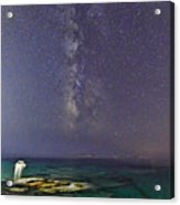 A Boat Under The Milky Way In Andros - Greece Acrylic Print