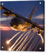A C-130 Hercules Releases Flares Acrylic Print