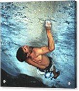 A Caucasian Man Rock Climbing Acrylic Print by Bobby Model