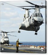 A Ch-46e Sea Knight Helicopter Takes Acrylic Print