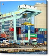 A Container Is Loaded In Kaohsiung Port Acrylic Print