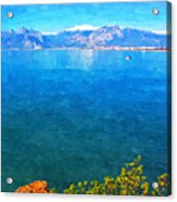 A Digitally Constructed Painting Of A Small Fishing Boat  With Snow Covered Mountains In Antalya Turkey Acrylic Print