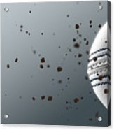 A Dirty White Leather Cricket Ball Caught In Slow Motion Flying Through The Air Scattering Dirt Part Acrylic Print