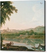 A Distant View Of Rome Across The Tiber Acrylic Print