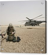 A Field Radio Operator Sets Acrylic Print by Stocktrek Images