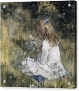 A Girl With Flowers On The Grass Acrylic Print
