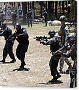 A Green Beret Walks With Tigres Acrylic Print
