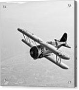 A Grumman F3f Biplane In Flight Acrylic Print
