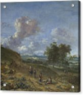 A Landscape With A High Dune And Peasants On A Road Acrylic Print