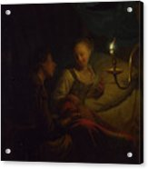 A Man Offering Gold And Coins To A Girl Acrylic Print