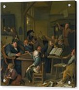 A Riotous Schoolroom With A Snoozing Schoolmaster Acrylic Print
