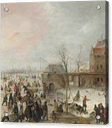 A Scene On The Ice Near A Town Acrylic Print