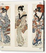 A Set Of Three Woodblock Prints Kakemono Acrylic Print