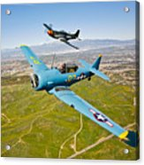 A T-6 Texan And P-51d Mustang In Flight Acrylic Print