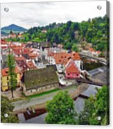 A View Overlooking The Vltava River And Cesky Krumlov In The Czech Republic Acrylic Print
